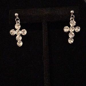 Rhinestone dangle cross earrings